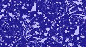 仿造抽象无缝从植物剪影蓝色背景的 对织品,墙纸,包装纸 库存例证