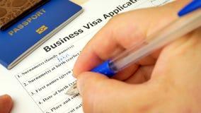 企业与护照的签证文件,申请和外国人国家的允许 股票视频