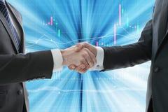 企业与数字式图表的手震动 库存图片