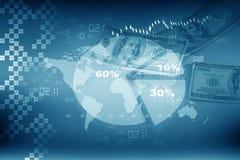 企业与美元的圆形统计图表 库存照片
