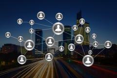 企业与财务的国际网络接口的概念 免版税库存图片