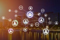 企业与财务的国际网络接口的概念 图库摄影