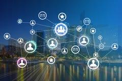 企业与财务的国际网络接口的概念 库存照片