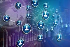 企业与财务的国际网络接口的概念 库存图片