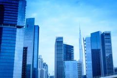 企业与Burj哈利法-企业海湾迪拜12的海湾大厦 03 2017年托马什Ganclerz 免版税图库摄影