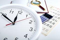 企业与clockface的stil生活 免版税库存图片