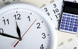 企业与clockface的stil生活 免版税库存照片