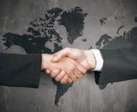 企业世界握手 免版税库存图片