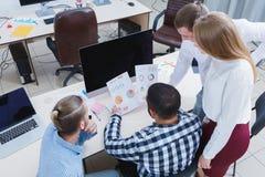 企业业务会议在有青年人的办公室 图库摄影