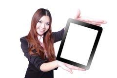 企业个人计算机陈列微笑片剂妇女 库存照片