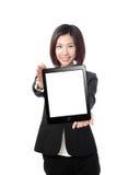 企业个人计算机陈列微笑片剂妇女 免版税库存照片