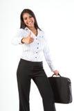企业乐趣产生成功赞许妇女 库存图片