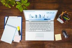 企业书桌的看法的综合图象 免版税库存图片