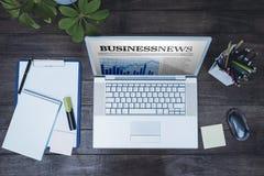 企业书桌的看法的综合图象 免版税库存照片