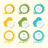 企业五颜六色的传染媒介飞溅标签 免版税图库摄影