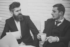 企业交谈 商务伙伴,商人谈论事务在会议上在办公室 有胡子的上司在衣服举行 免版税库存照片