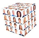 企业人小组。立方体拼贴画。 库存照片