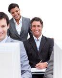 企业介绍小组工作 免版税库存照片