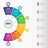 企业介绍或infographic与6个选择 传染媒介信息 免版税图库摄影