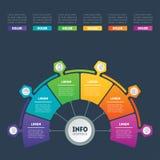 企业介绍或infographic与6个选择 传染媒介信息 免版税库存照片