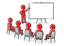 企业介绍:与空白的委员会和观众的报告人 库存例证