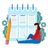企业任务的成功的完成 清单剪贴板 查询表,勘测,任务单 向量例证