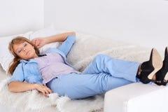 企业休眠的妇女 免版税库存图片