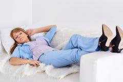 企业休眠的妇女 图库摄影