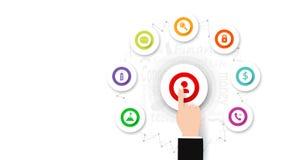 企业传染媒介,手指在按钮上手按、infographic象和标志、平的设计、创造性背景、的想法和战略标志 皇族释放例证
