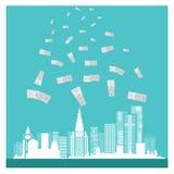 企业传染媒介金钱大厦成功蓝色背景 库存图片