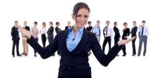 企业做欢迎的姿态领导先锋 免版税图库摄影