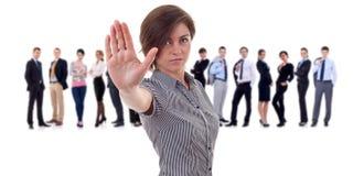 企业做终止的姿态领导先锋 免版税库存照片