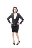 企业全长微笑常设妇女 免版税库存图片