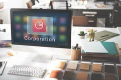 企业公司统计圆形统计图表概念 免版税库存照片