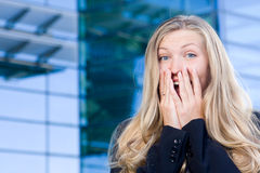企业兴奋妇女 免版税库存图片