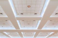 企业内部办公楼和光氖天花板  与拷贝空间的样式黑白照片 免版税图库摄影