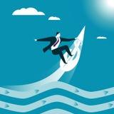企业冲浪 抓住波浪 向量例证