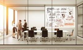 企业剪影在会议室 免版税库存照片