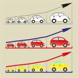 企业动态图形宏指令销售额 成长进展蓝色箭头 免版税库存照片