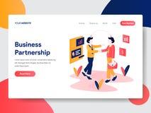 企业合作概念登陆的页模板  网页设计的现代平的设计观念网站和机动性的 库存例证