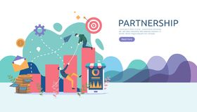 企业合作联系与微小的人字符的概念想法 网着陆页的队运作的伙伴一起模板 向量例证