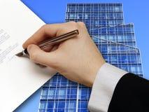 企业合同签名 免版税库存图片