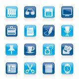 企业和办公室对象图标 免版税库存图片