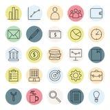 企业和财务网象设置了与概述样式颜色充分的象收藏 向量例证