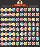 企业和财务象,在bla的五颜六色的按钮 库存照片