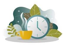 企业咖啡休息着陆页 与平的网站模板的午饭时间横幅 库存例证