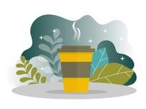 企业咖啡休息着陆页 与平的网站模板的午饭时间横幅 皇族释放例证