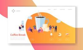 企业咖啡休息着陆页 午餐与平的人字符网站模板的时间横幅 容易编辑 向量例证