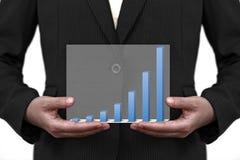 企业图形现有量销售额趋势 库存照片