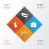 企业图标设置了 合同,工作人,聊天的和其他元素的汇集 并且包括标志例如消息 库存例证